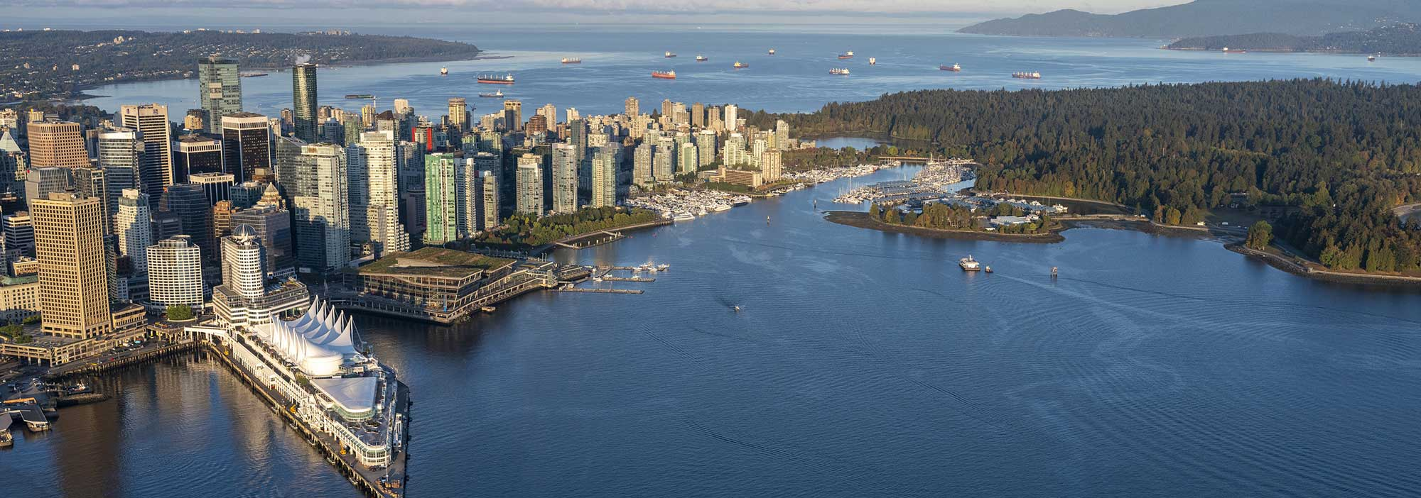 Vancouver Convention Centre aerial view, downtown Vancouver, Stanley Park